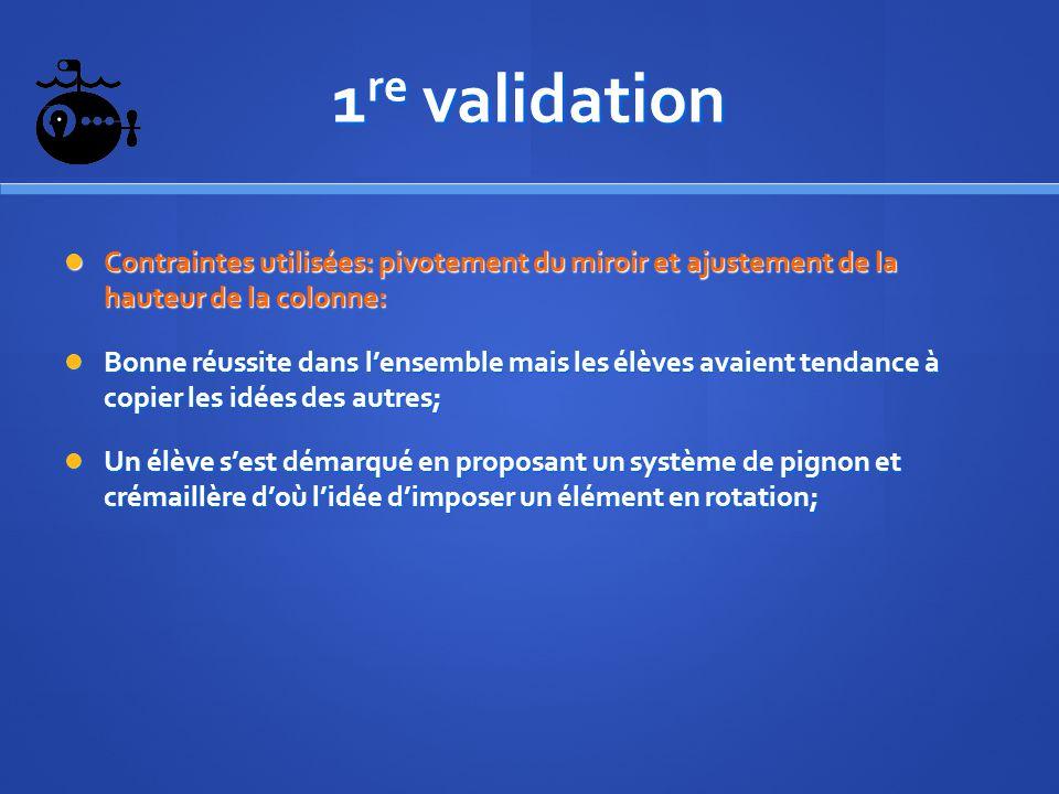 1 re validation Contraintes utilisées: pivotement du miroir et ajustement de la hauteur de la colonne: Contraintes utilisées: pivotement du miroir et