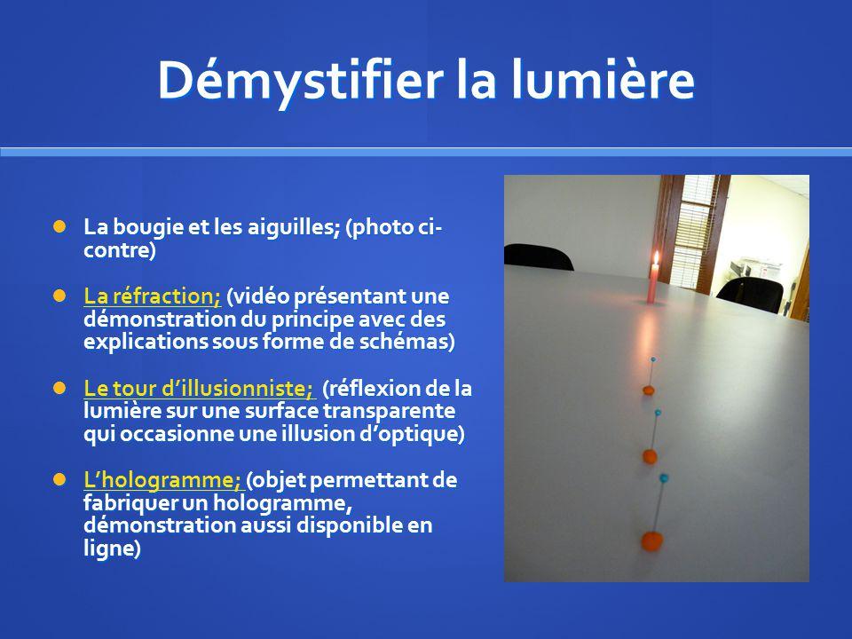 Démystifier la lumière La bougie et les aiguilles; (photo ci- contre) La bougie et les aiguilles; (photo ci- contre) La réfraction; (vidéo présentant