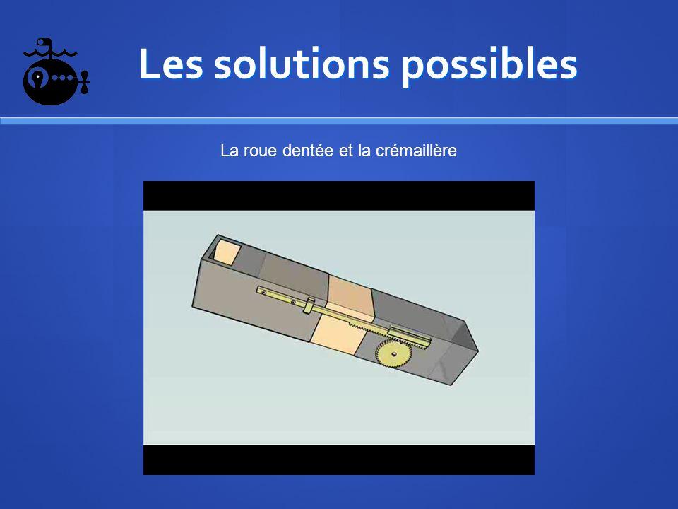Les solutions possibles Les solutions possibles La roue dentée et la crémaillère