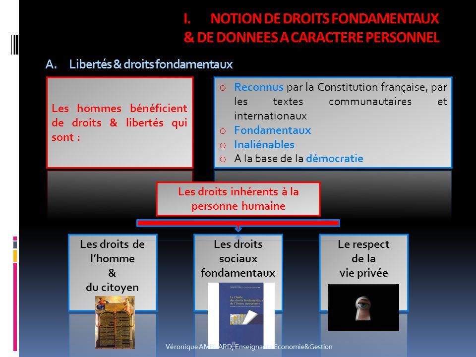 A.Libertés & droits fondamentaux I.NOTION DE DROITS FONDAMENTAUX & DE DONNEES A CARACTERE PERSONNEL Véronique AMBLARD, Enseignante Economie&Gestion