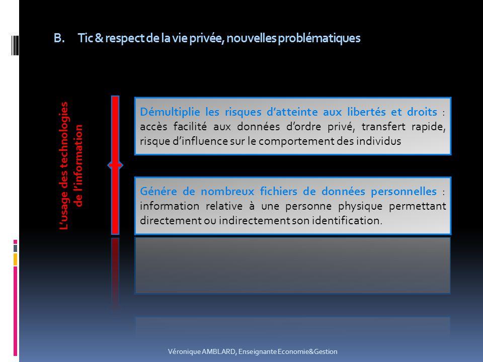 B.Tic & respect de la vie privée, nouvelles problématiques Véronique AMBLARD, Enseignante Economie&Gestion