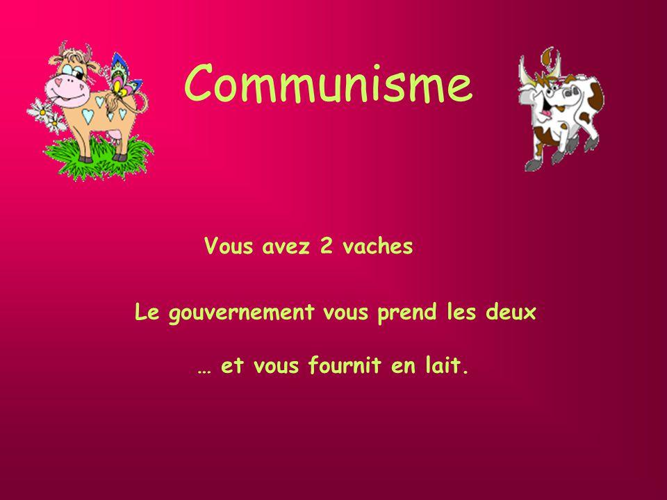 Communisme Le gouvernement vous prend les deux … et vous fournit en lait. Vous avez 2 vaches