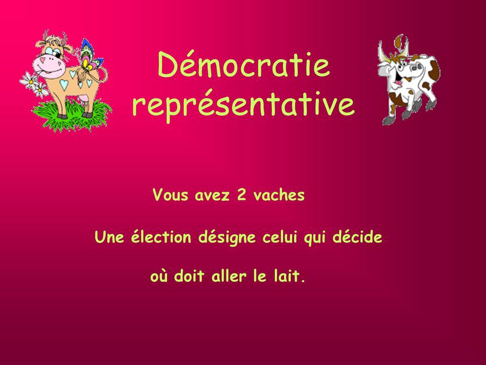 Démocratie représentative Vous avez 2 vaches Une élection désigne celui qui décide où doit aller le lait.