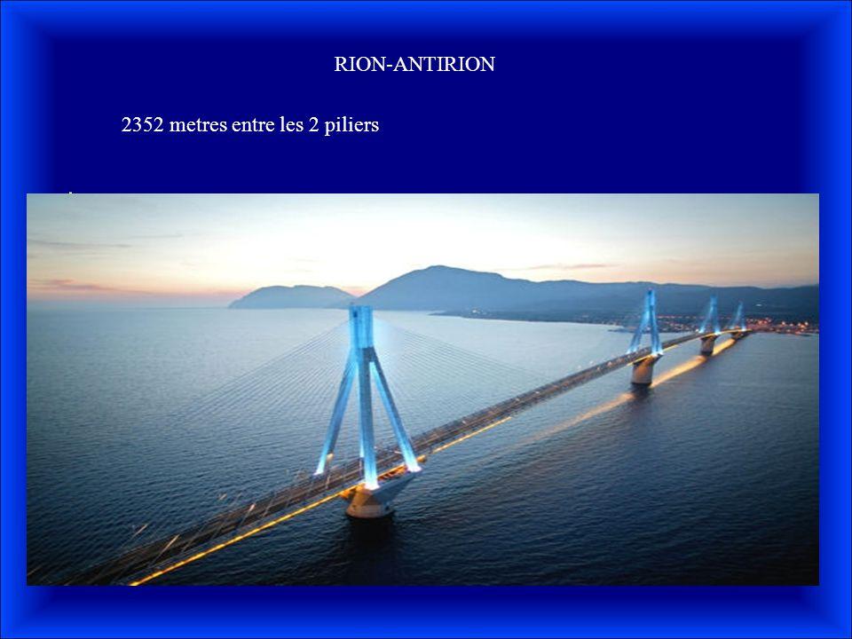 RION-ANTIRION 2352 metres entre les 2 piliers
