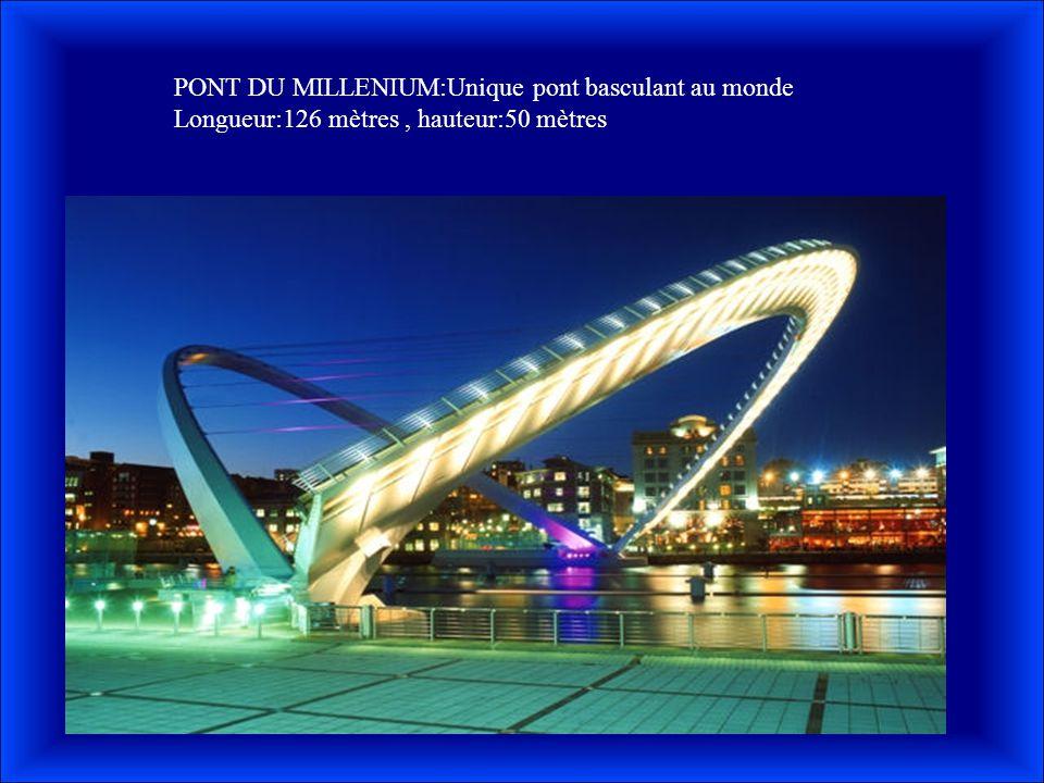 PONT DU MILLENIUM:Unique pont basculant au monde Longueur:126 mètres, hauteur:50 mètres