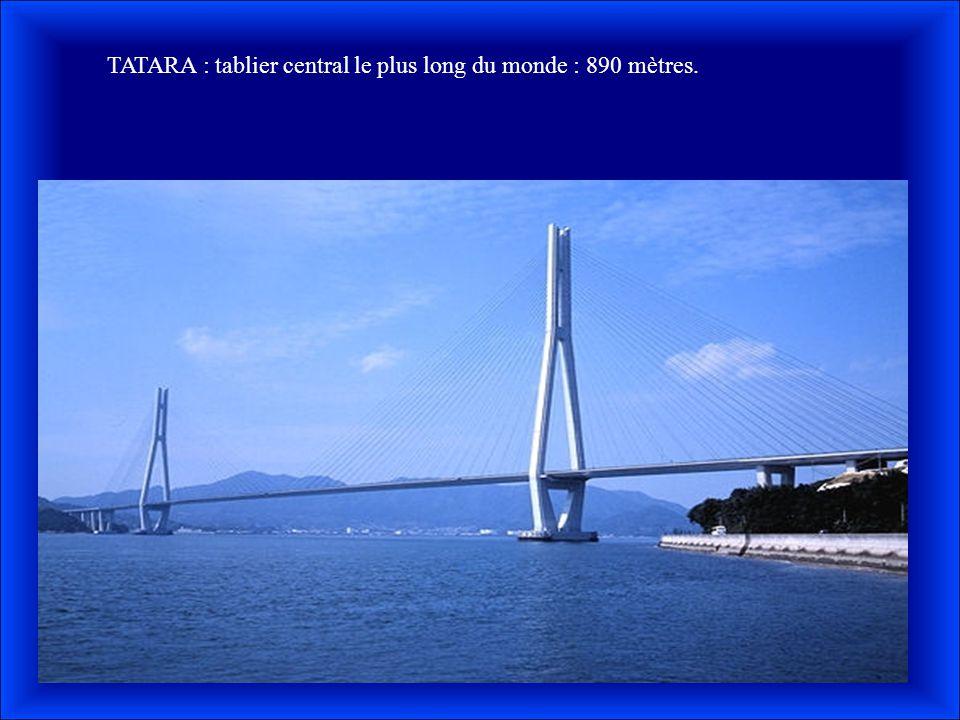 TATARA : tablier central le plus long du monde : 890 mètres.