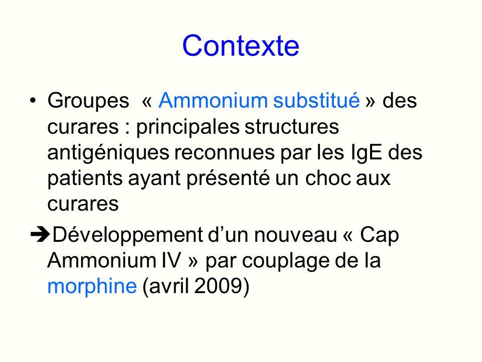 Contexte Groupes « Ammonium substitué » des curares : principales structures antigéniques reconnues par les IgE des patients ayant présenté un choc au