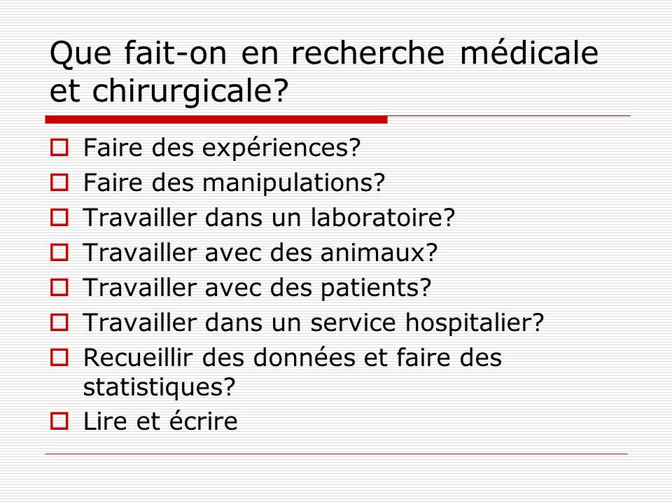 Que fait-on en recherche médicale et chirurgicale? Faire des expériences? Faire des manipulations? Travailler dans un laboratoire? Travailler avec des