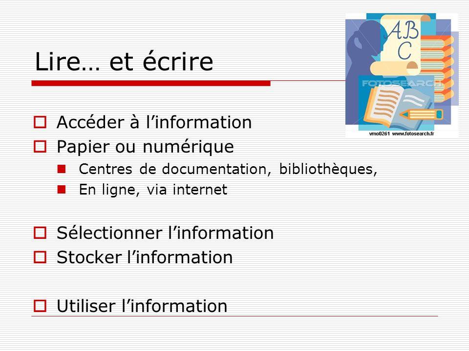 Lire… et écrire Accéder à linformation Papier ou numérique Centres de documentation, bibliothèques, En ligne, via internet Sélectionner linformation S