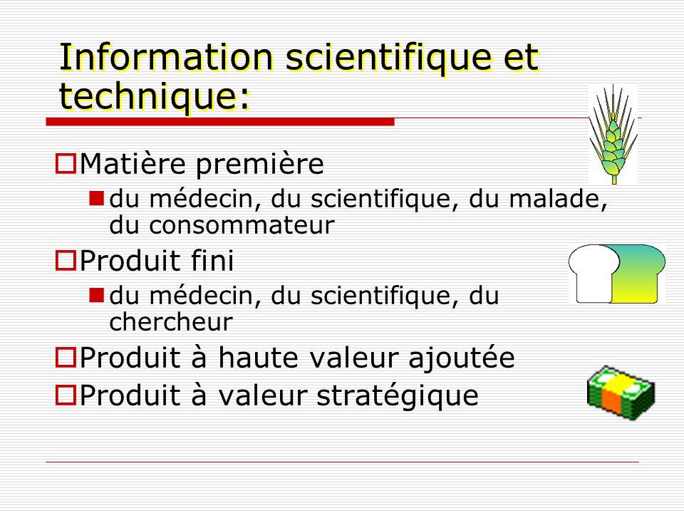 Information scientifique et technique: Matière première du médecin, du scientifique, du malade, du consommateur Produit fini du médecin, du scientifiq