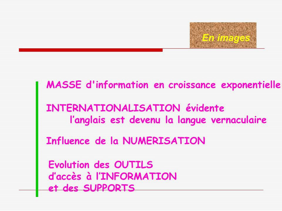 En images MASSE d'information en croissance exponentielle INTERNATIONALISATION évidente langlais est devenu la langue vernaculaire Influence de la NUM
