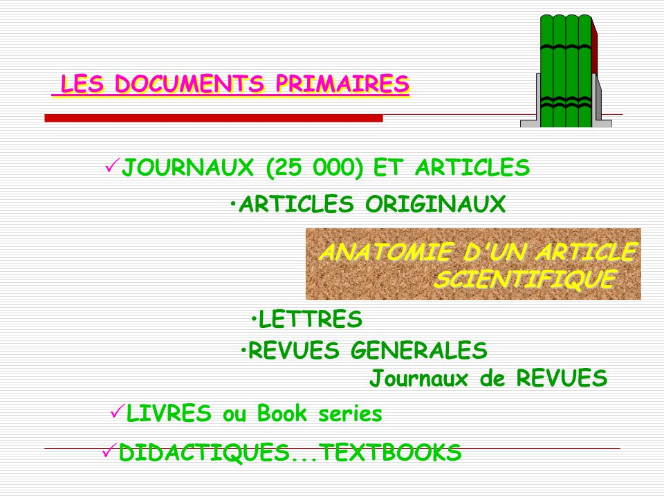 LES DOCUMENTS PRIMAIRES JOURNAUX (25 000) ET ARTICLES ARTICLES ORIGINAUX ANATOMIE D'UN ARTICLE SCIENTIFIQUE LETTRES REVUES GENERALES Journaux de REVUE