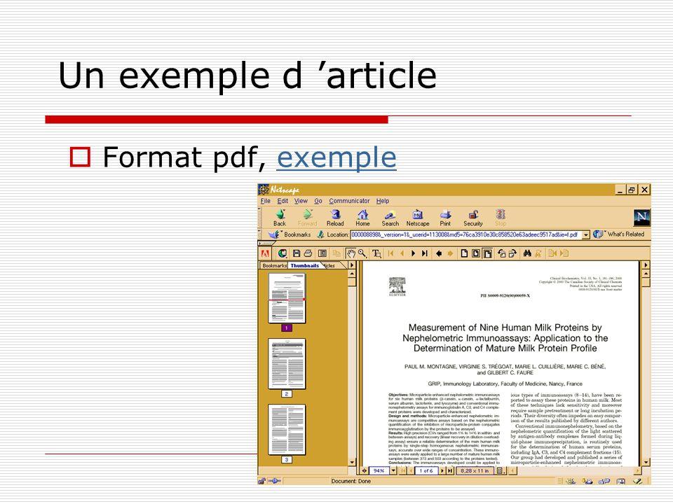 Un exemple d article Format pdf, exempleexemple