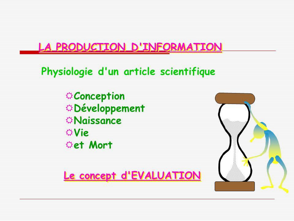 LA PRODUCTION D'INFORMATION Physiologie d'un article scientifique Conception Développement Naissance Vie et Mort Le concept d'EVALUATION