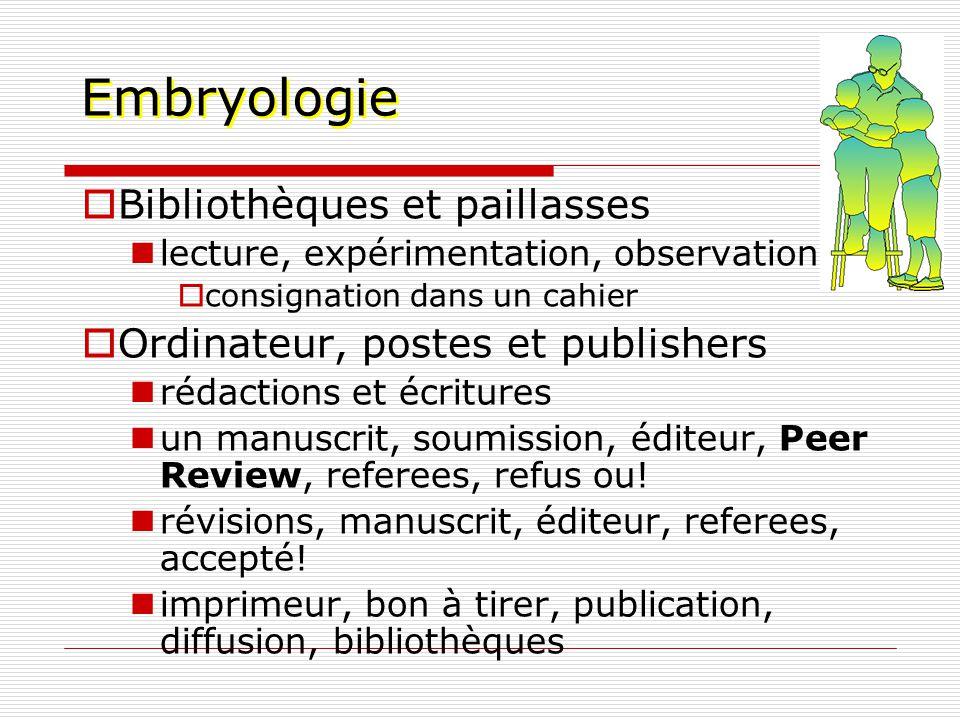 Embryologie Bibliothèques et paillasses lecture, expérimentation, observation consignation dans un cahier Ordinateur, postes et publishers rédactions