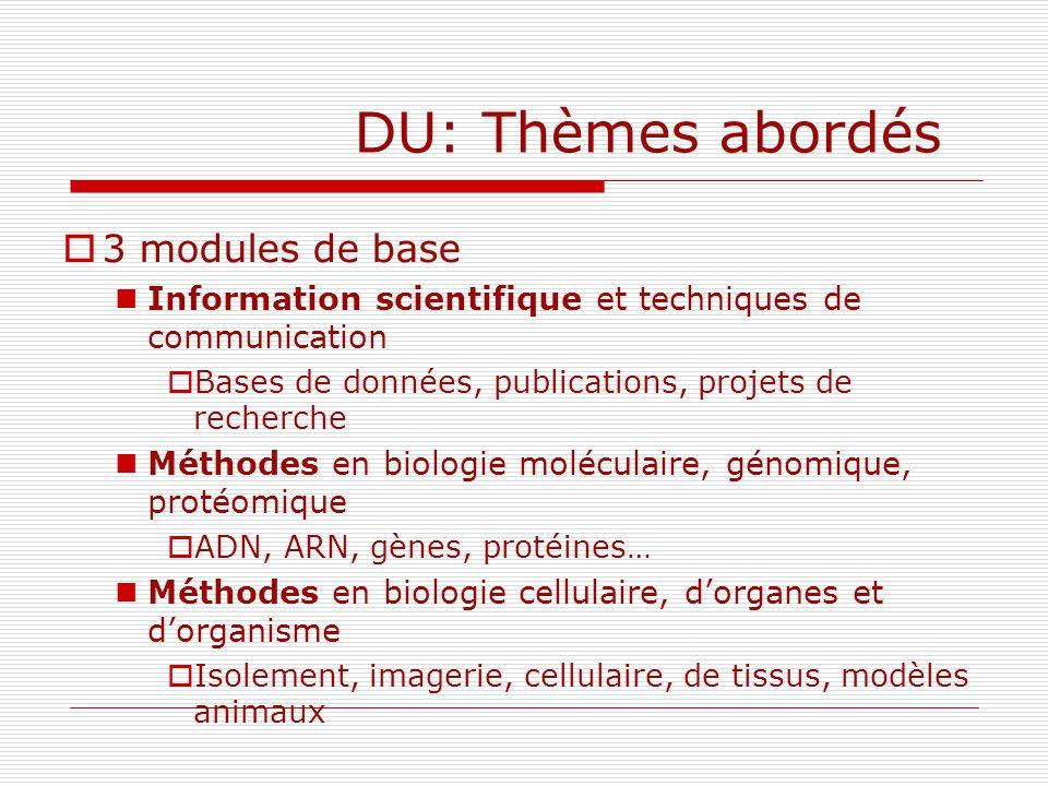 DU: Thèmes abordés 3 modules de base Information scientifique et techniques de communication Bases de données, publications, projets de recherche Méth
