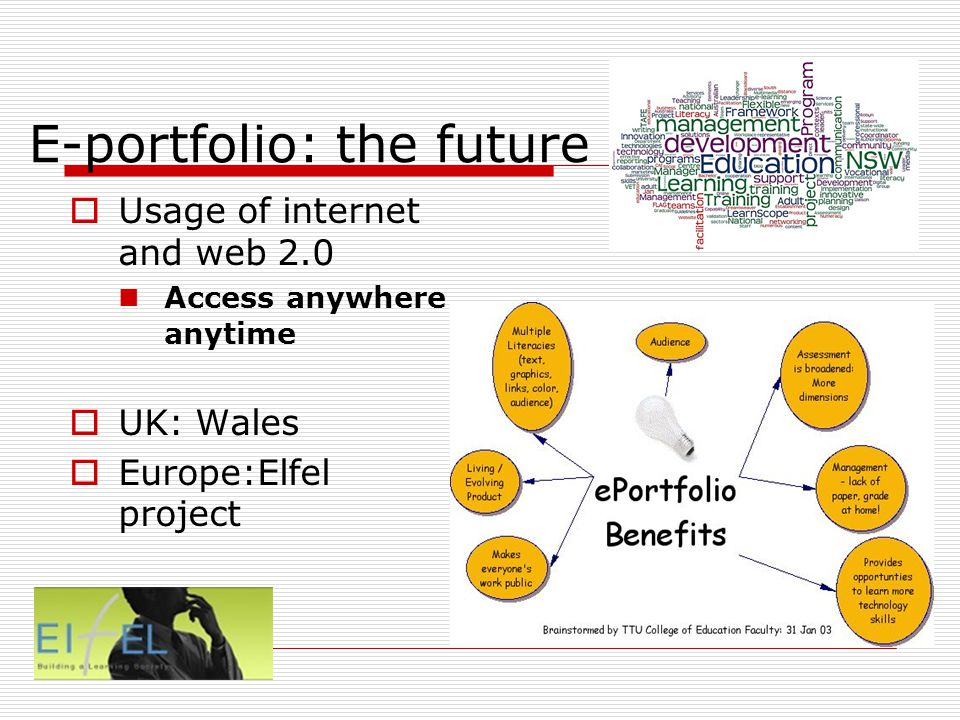 E-portfolio: the future Usage of internet and web 2.0 Access anywhere anytime UK: Wales Europe:Elfel project