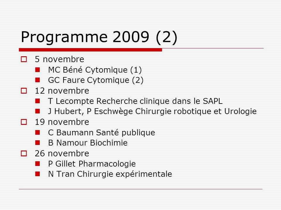 Programme 2009 (2) 5 novembre MC Béné Cytomique (1) GC Faure Cytomique (2) 12 novembre T Lecompte Recherche clinique dans le SAPL J Hubert, P Eschwège
