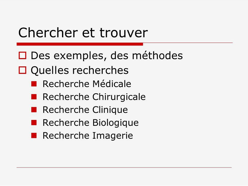 Chercher et trouver Des exemples, des méthodes Quelles recherches Recherche Médicale Recherche Chirurgicale Recherche Clinique Recherche Biologique Re