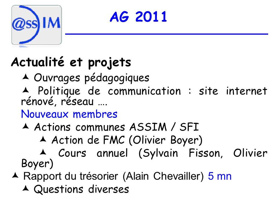 AG 2011 Actualité et projets Ouvrages pédagogiques Politique de communication : site internet rénové, réseau ….