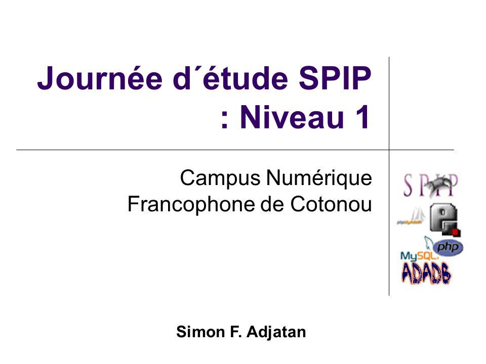 Journée d´étude SPIP : Niveau 1 Campus Numérique Francophone de Cotonou Simon F. Adjatan