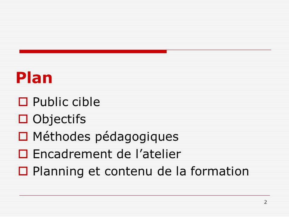 2 Plan Public cible Objectifs Méthodes pédagogiques Encadrement de latelier Planning et contenu de la formation