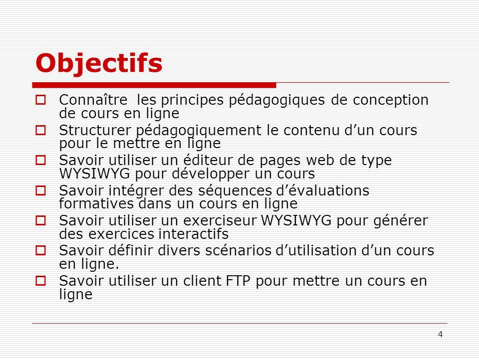 4 Objectifs Connaître les principes pédagogiques de conception de cours en ligne Structurer pédagogiquement le contenu dun cours pour le mettre en lig