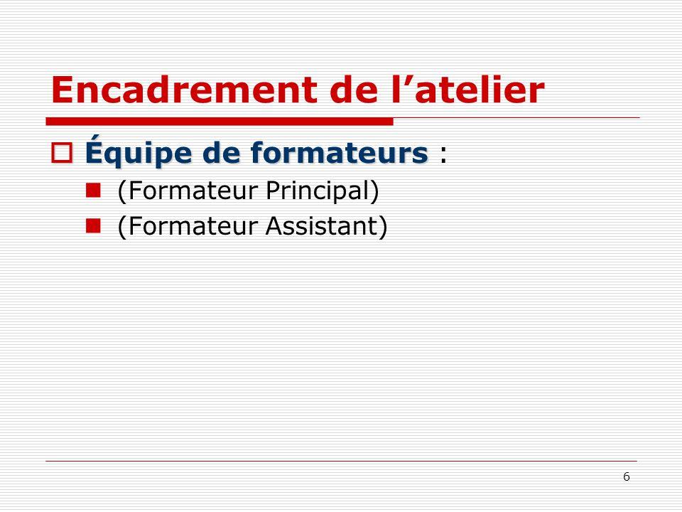 6 Encadrement de latelier Équipe de formateurs Équipe de formateurs : (Formateur Principal) (Formateur Assistant)
