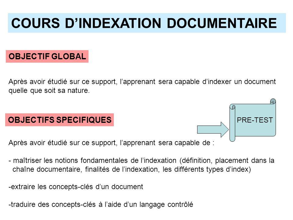 COURS DINDEXATION DOCUMENTAIRE Après avoir étudié sur ce support, lapprenant sera capable de : - maîtriser les notions fondamentales de lindexation (d