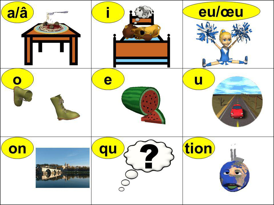 a/âa/â i eu/œu o onqu u tion table pâtes litlit lion bleu bottes voiture ruerue pont question pollution sœur couleur e petit melon rose o