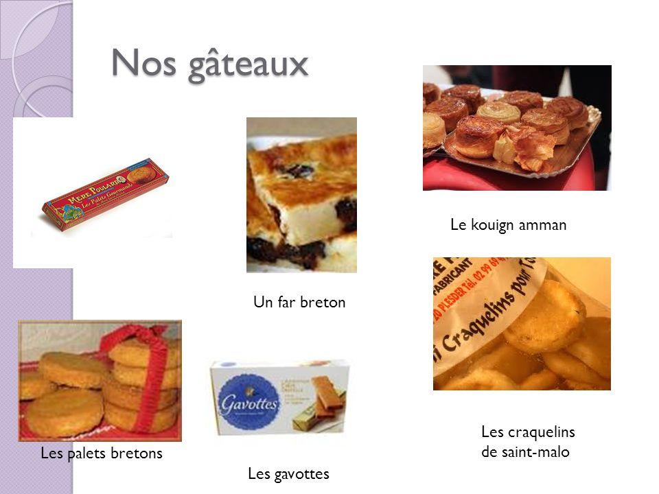 Nos gâteaux Les palets bretons Le kouign amman Les craquelins de saint-malo Les gavottes Un far breton