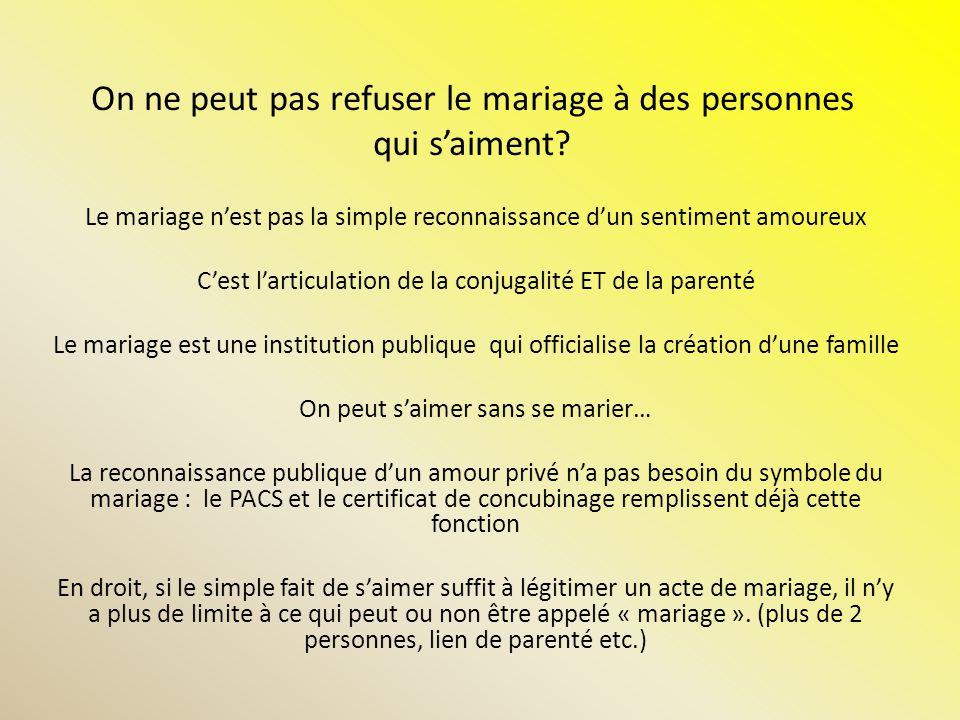 Le mariage pour tous est une question dégalité et de non discrimination envers les personnes homosexuelles.