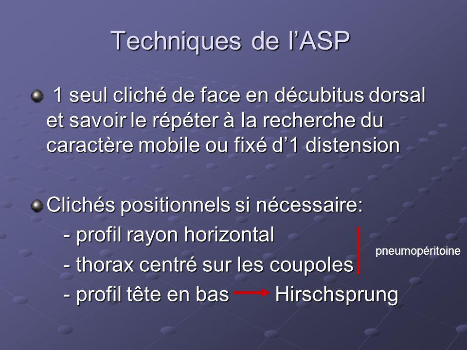 les pièges de l' ASP L abdomen est peu aéré : dans les heures suivant la naissance en cas de souffrance neurologique en cas de posture en procubitus L