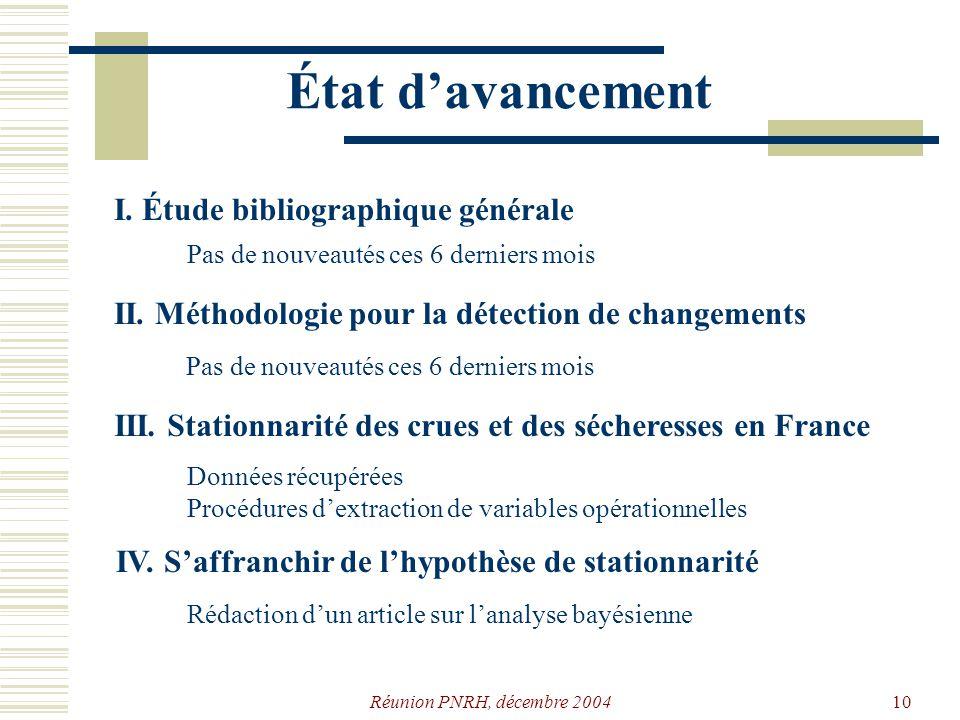 Réunion PNRH, décembre 20049 Plan de travail I. Étude bibliographique générale Quelles sont les conséquences des évolutions prévues par les modèles cl