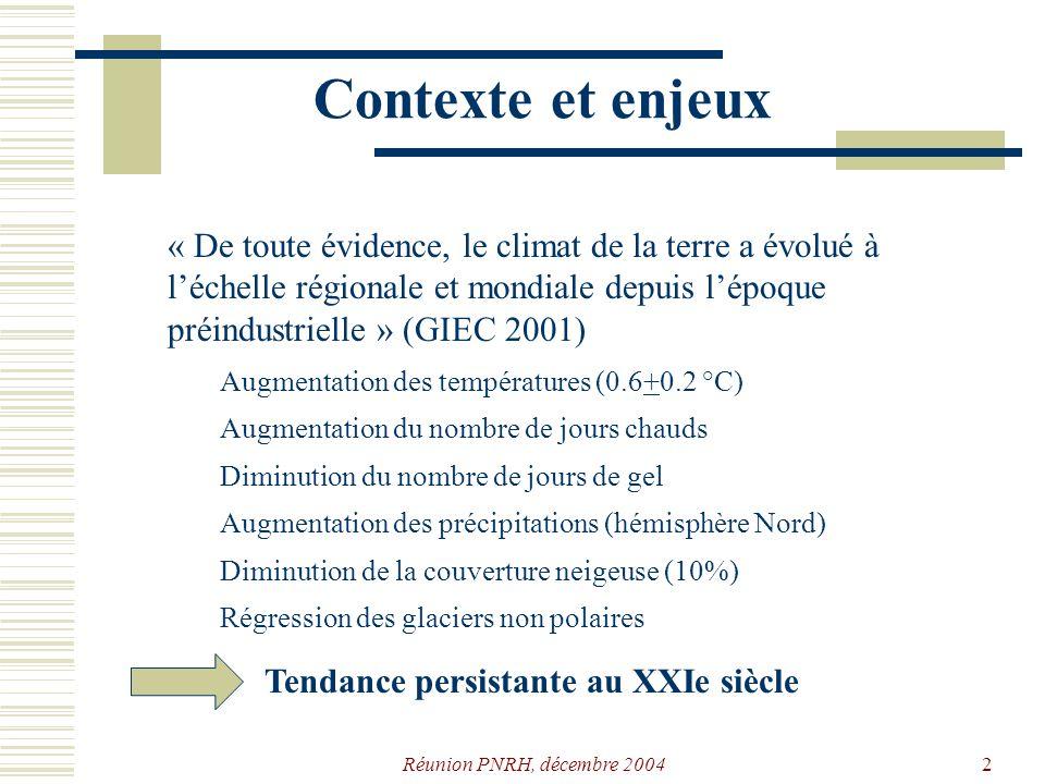 Réunion PNRH, décembre 20042 Contexte et enjeux « De toute évidence, le climat de la terre a évolué à léchelle régionale et mondiale depuis lépoque préindustrielle » (GIEC 2001) Augmentation des températures (0.6+0.2 °C) Augmentation du nombre de jours chauds Diminution du nombre de jours de gel Augmentation des précipitations (hémisphère Nord) Régression des glaciers non polaires Diminution de la couverture neigeuse (10%) Tendance persistante au XXIe siècle