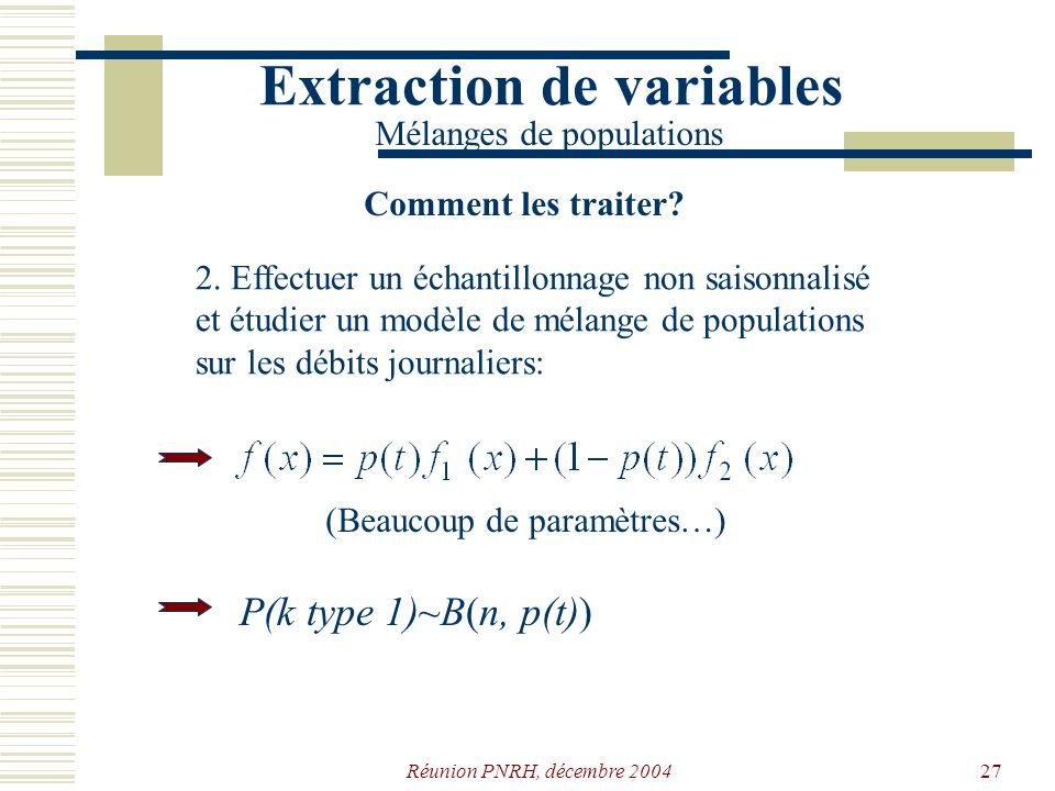 Réunion PNRH, décembre 200426 1. Plus sophistiqué: minimisation de la probabilité derreur. Extraction de variables Mélanges de populations Comment les