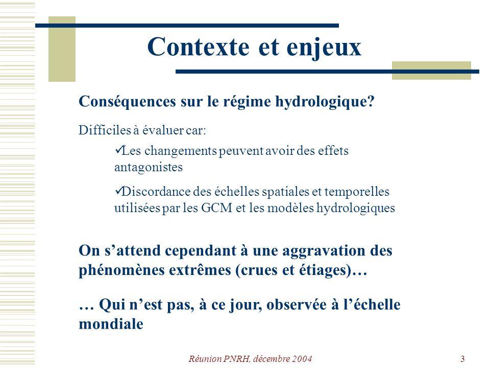 Réunion PNRH, décembre 200413 Extraction de variables q t mr v θ δ q/2 t deb t fin Q(t) (débit journalier) temps S σ, lécart-type γ, lasymétrie Définitions