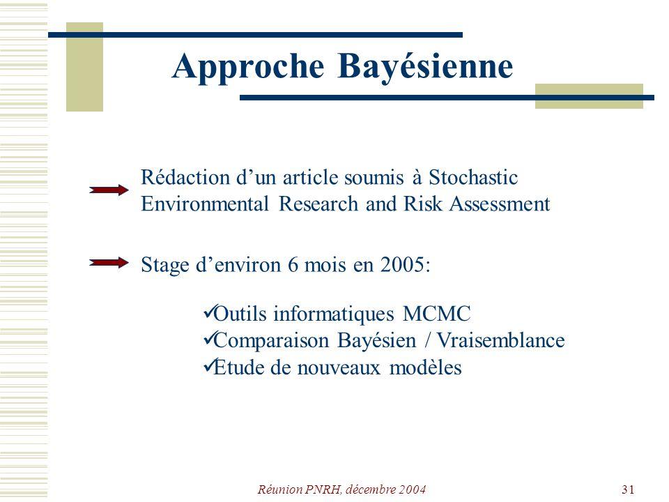 Réunion PNRH, décembre 200430 Premiers résultats Non stationnaire Stationnaire Débits maximums annuels