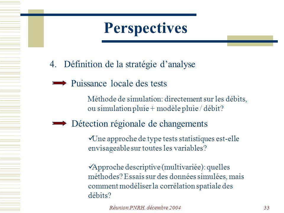 Réunion PNRH, décembre 200432 Perspectives 1.Rechercher quelques stations supplémentaires pour une meilleure répartition géographique de léchantillon