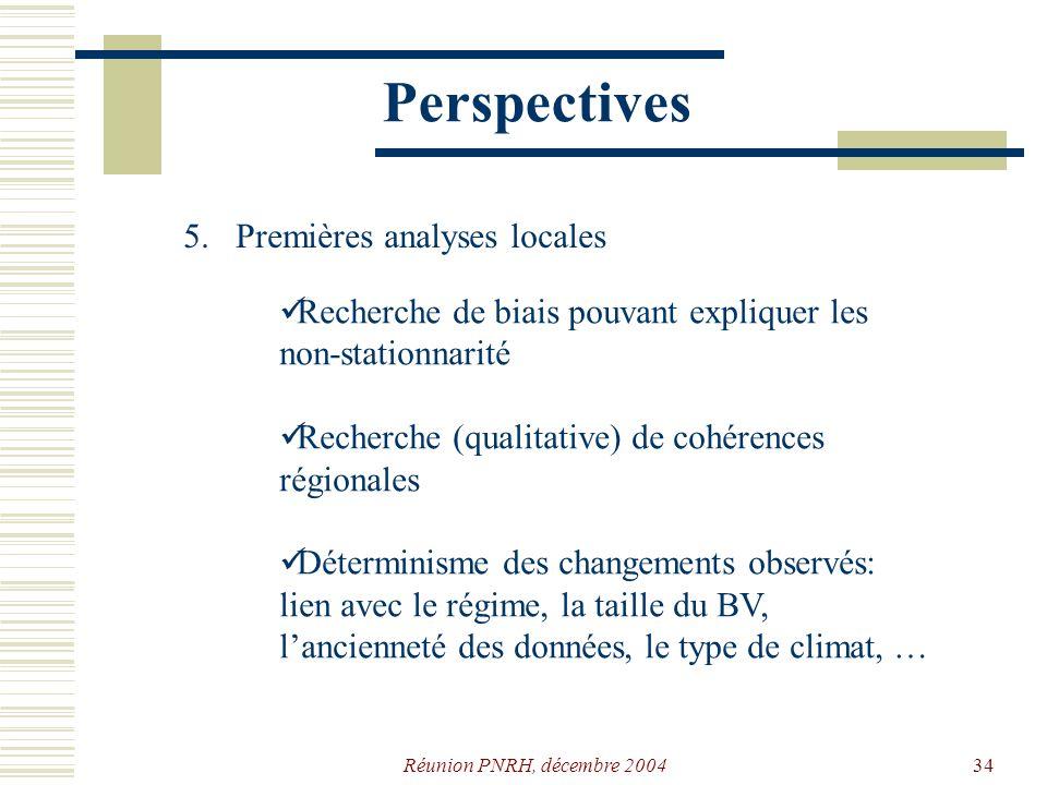 Réunion PNRH, décembre 200433 Perspectives 4. Définition de la stratégie danalyse Puissance locale des tests Méthode de simulation: directement sur le