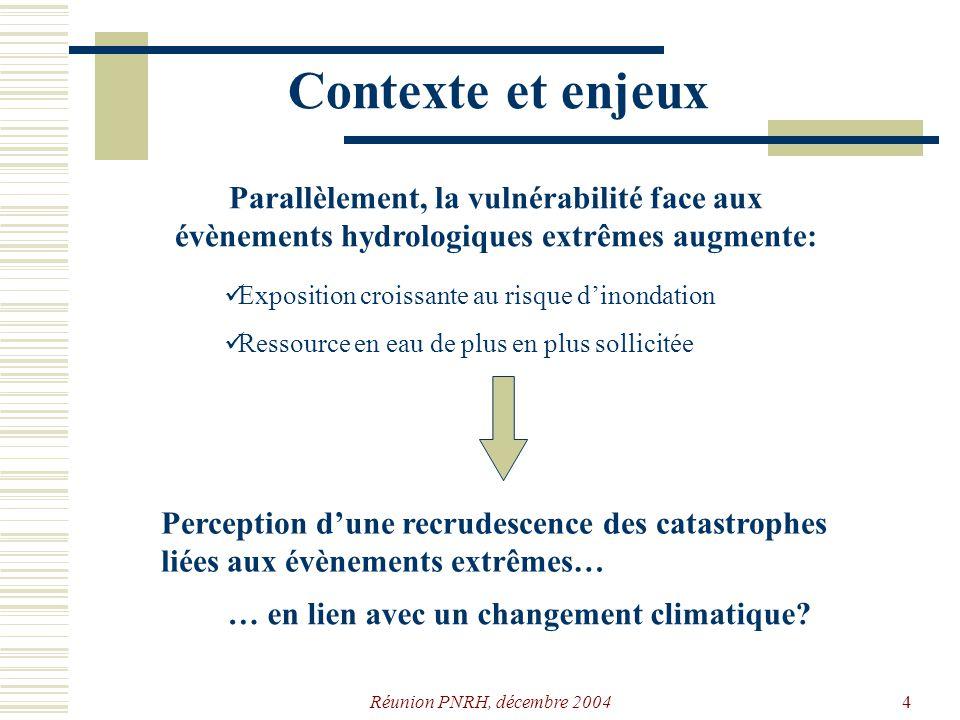Réunion PNRH, décembre 20043 Contexte et enjeux Les changements peuvent avoir des effets antagonistes Discordance des échelles spatiales et temporelles utilisées par les GCM et les modèles hydrologiques On sattend cependant à une aggravation des phénomènes extrêmes (crues et étiages)… Conséquences sur le régime hydrologique.