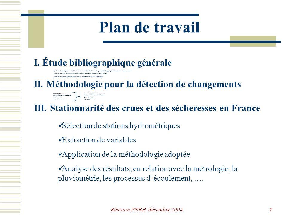 Réunion PNRH, décembre 20047 Plan de travail I. Étude bibliographique générale Quelles sont les conséquences des évolutions prévues par les modèles cl