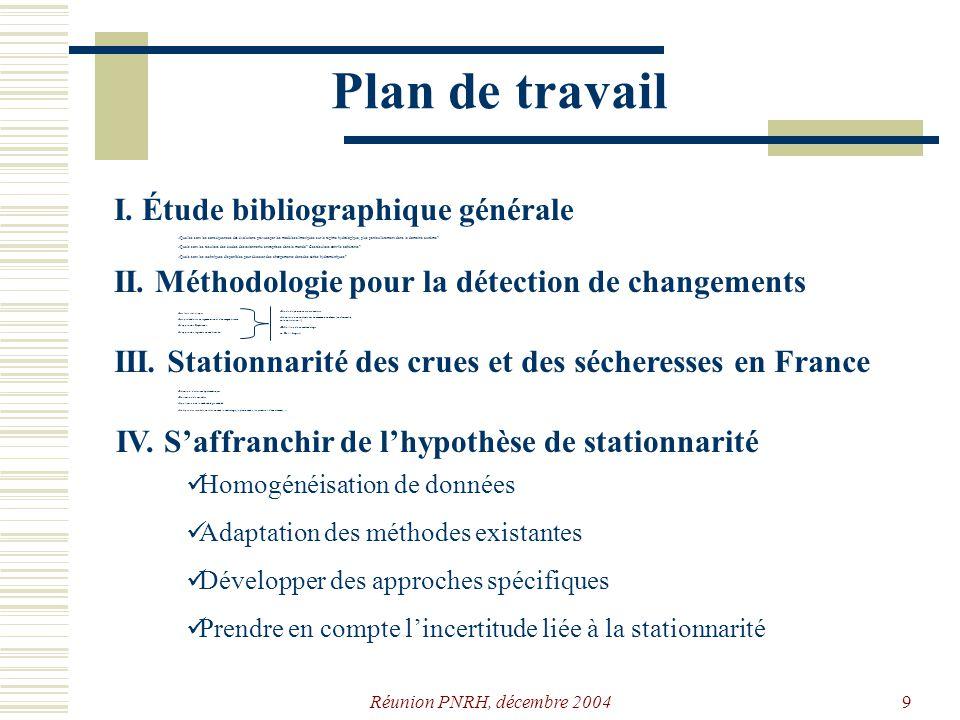 Réunion PNRH, décembre 20048 Plan de travail I. Étude bibliographique générale Quelles sont les conséquences des évolutions prévues par les modèles cl