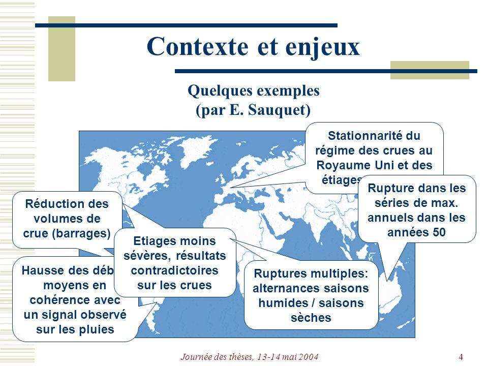Journée des thèses, 13-14 mai 20044 Stationnarité du régime des crues au Royaume Uni et des étiages en Europe Rupture dans les séries de max.