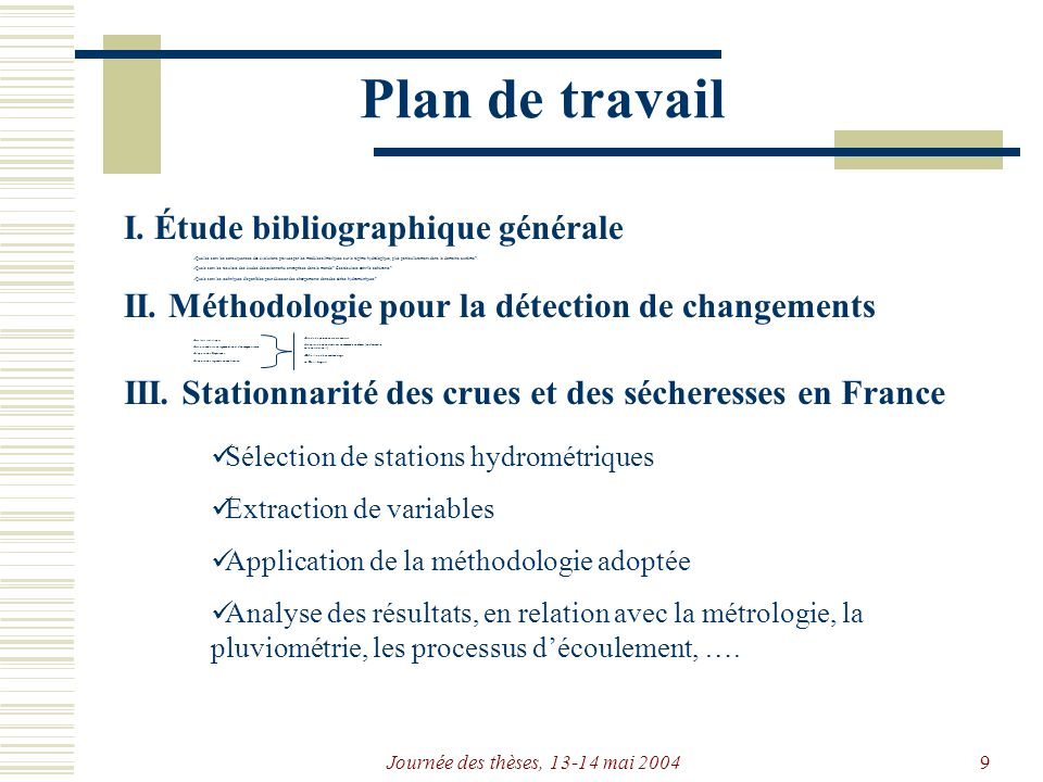 Journée des thèses, 13-14 mai 20049 Plan de travail I.