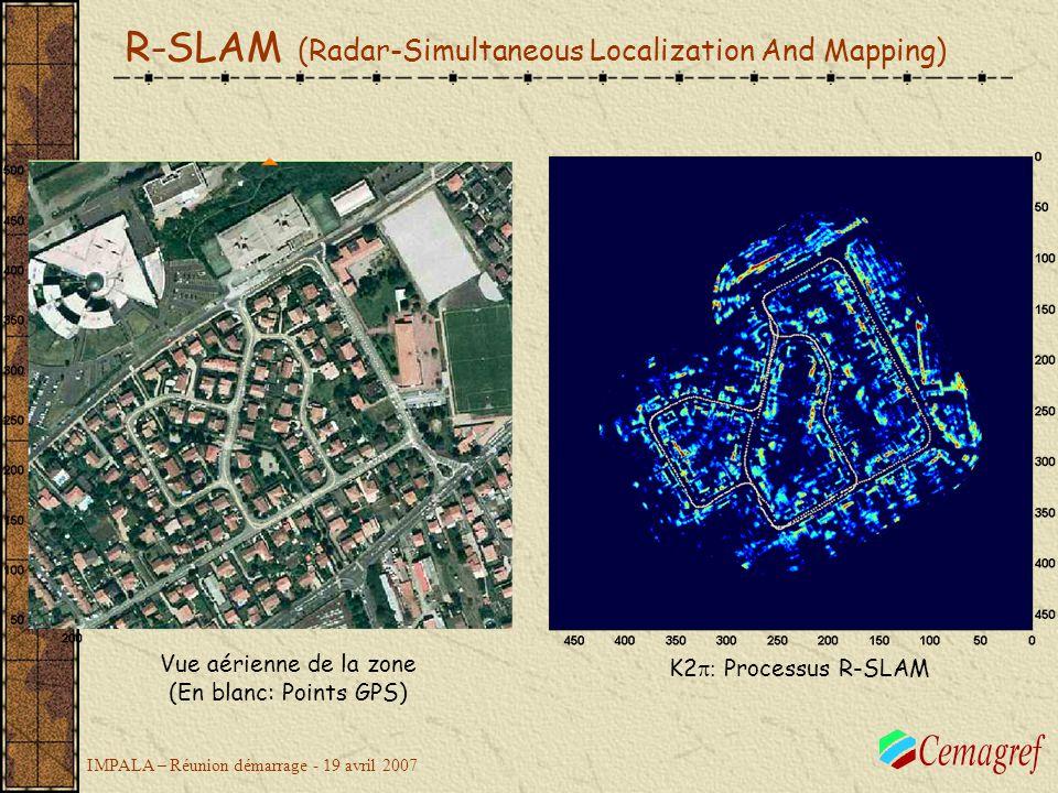 IMPALA – Réunion démarrage - 19 avril 2007 Vue aérienne de la zone (En blanc: Points GPS) K2 Processus R-SLAM R-SLAM (Radar-Simultaneous Localization And Mapping)