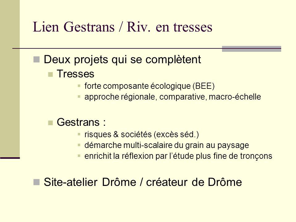 Lien Gestrans / Riv. en tresses Deux projets qui se complètent Tresses forte composante écologique (BEE) approche régionale, comparative, macro-échell