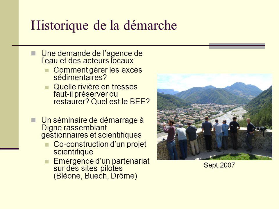 Historique de la démarche Une demande de lagence de leau et des acteurs locaux Comment gérer les excès sédimentaires? Quelle rivière en tresses faut-i