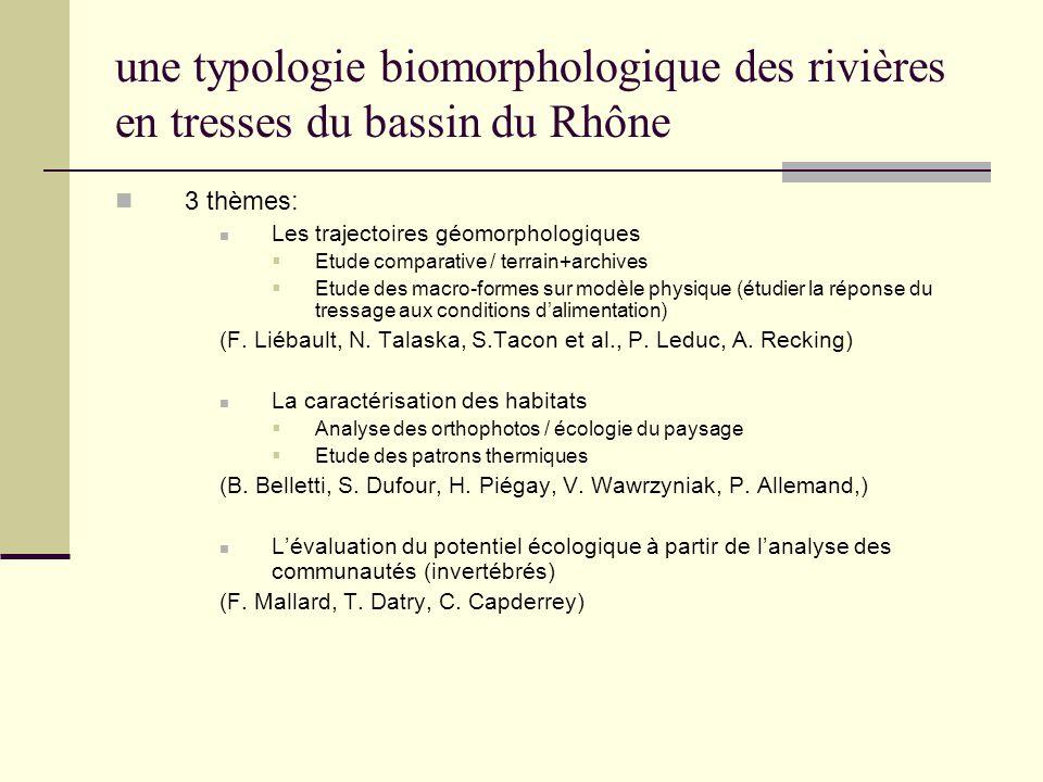 une typologie biomorphologique des rivières en tresses du bassin du Rhône 3 thèmes: Les trajectoires géomorphologiques Etude comparative / terrain+arc