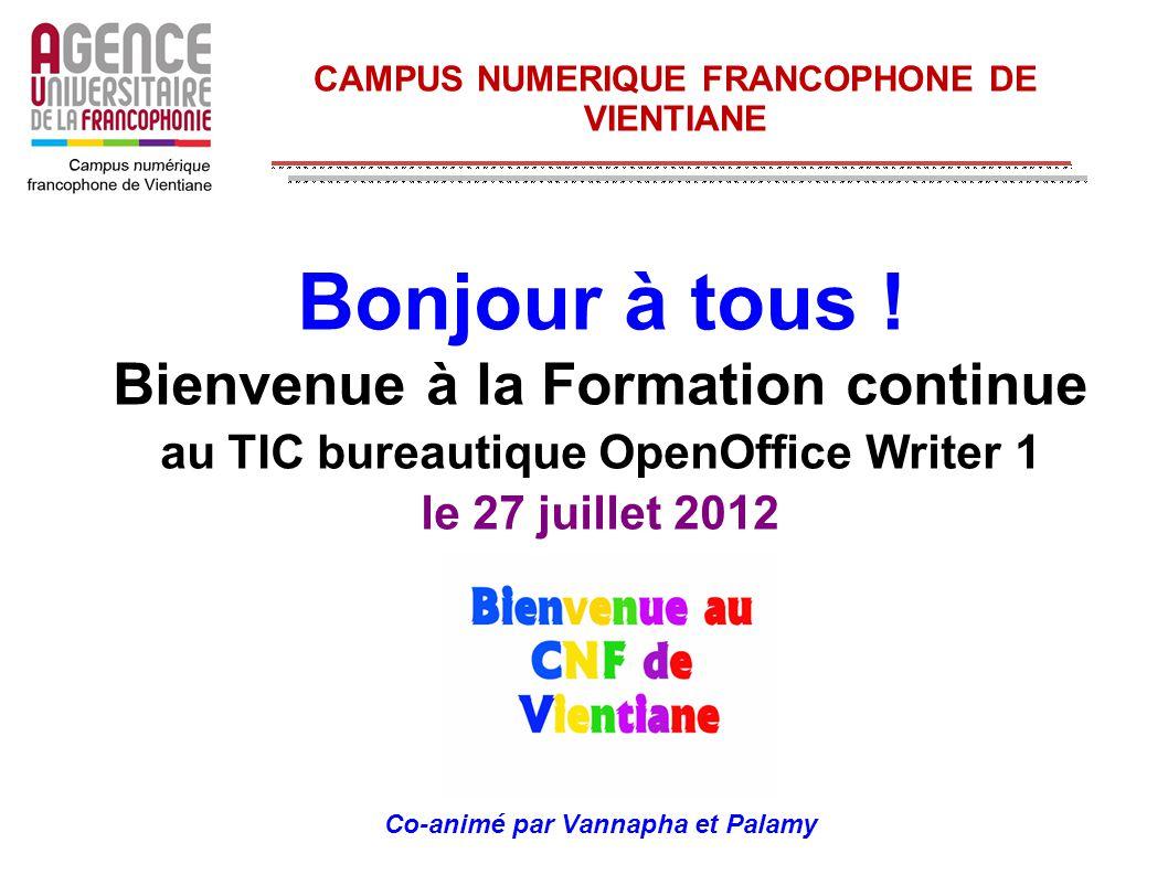 CAMPUS NUMERIQUE FRANCOPHONE DE VIENTIANE Bonjour à tous ! Bienvenue à la Formation continue au TIC bureautique OpenOffice Writer 1 le 27 juillet 2012